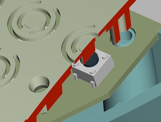 部品を追加せずにタクトスイッチの高さを調整